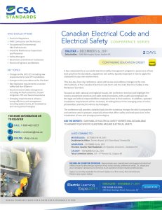 Canadian Electrical Code and Electrical Safety