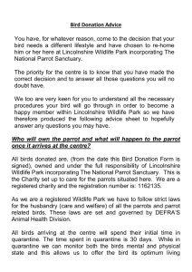 Bird Donation Advice You have, for whatever reason, come to the