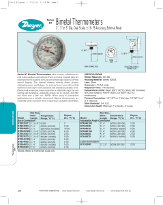 Series BT Bimetal Thermometers