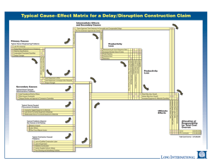 Typical Cause-Effect Matrix for a Delay/Disruption Construction Claim