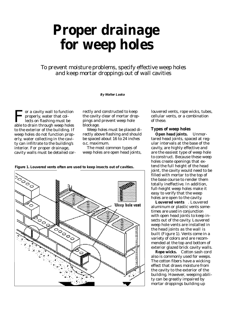Proper drainage for weep holes