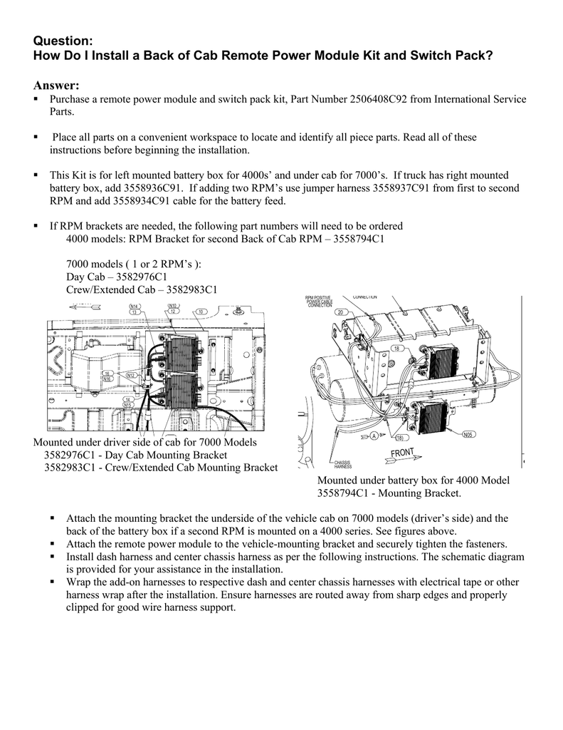 Back Of Cab Remote Power Module Kit J1939 International 4700 Wiring Diagram