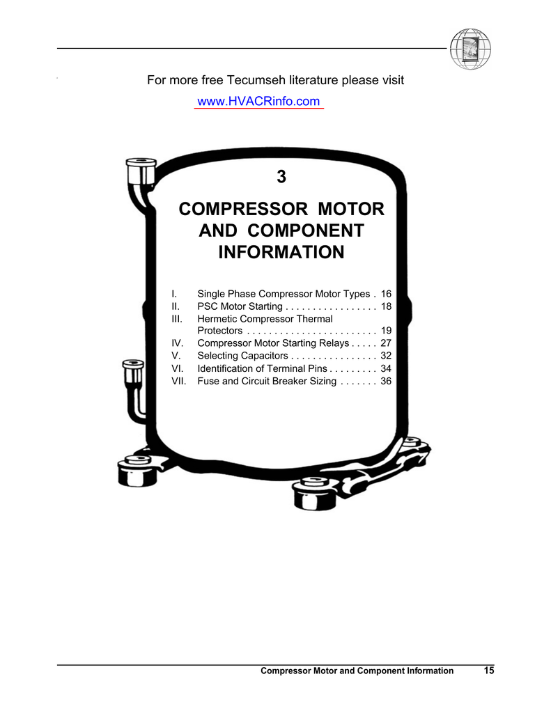 3 Compressor Motor And Component Information