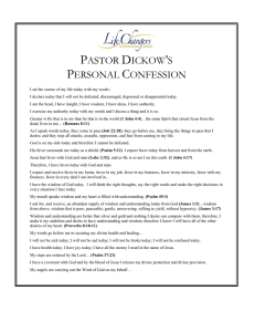 PASTOR DICKOW`S PERSONAL CONFESSION