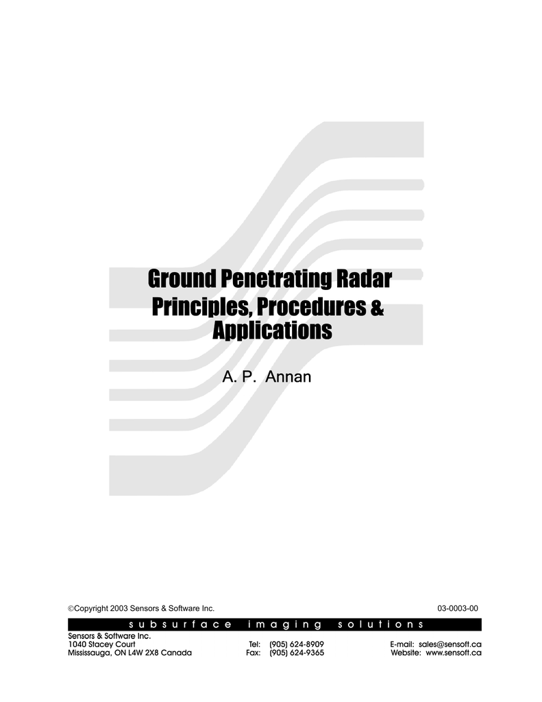 Ground Penetrating Radar Applications Principles, Procedures &