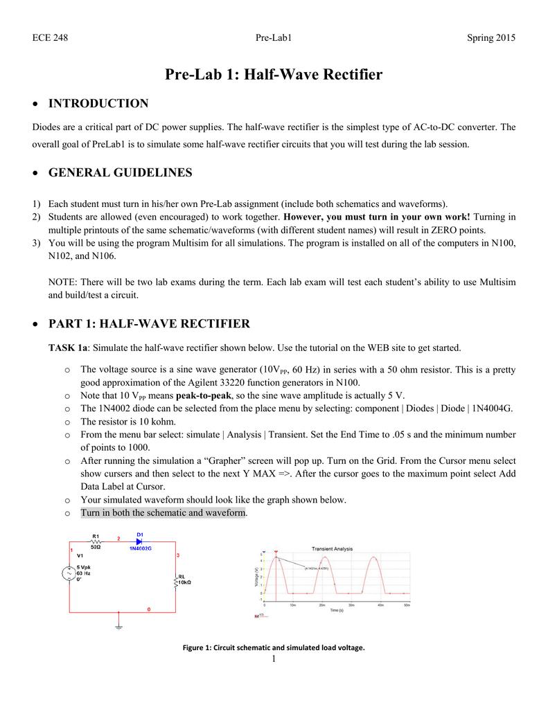 Pre-Lab 1: Half-Wave Rectifier on