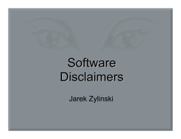 Software Disclaimers - Department of Computing and Software