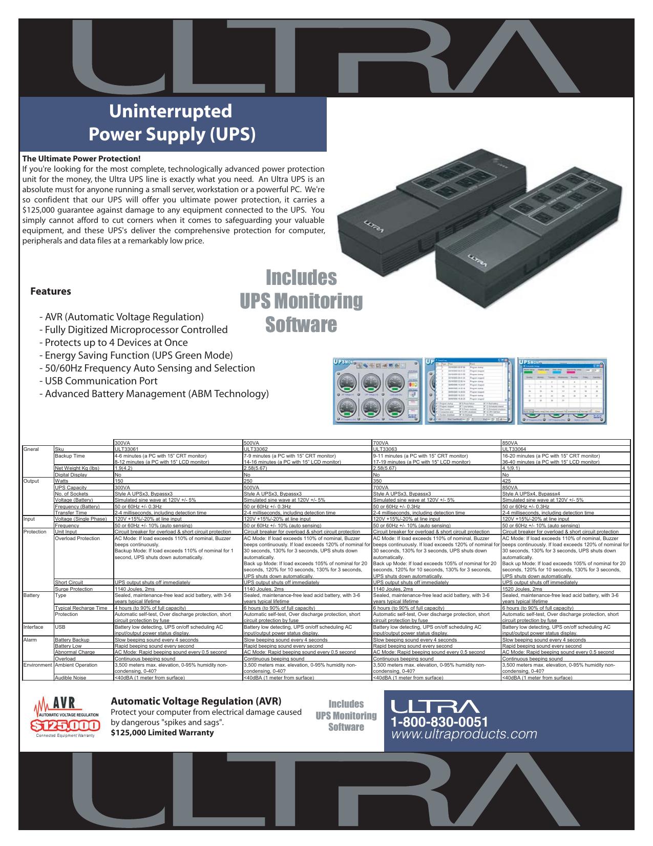 Ultra ULT33063 UPS Data Sheet
