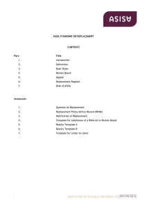 ASISA STANDARD ON REPLACEMENT CONTENTS Para Title 1