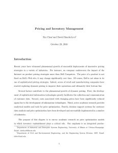 Pricing and Inventory Management Introduction