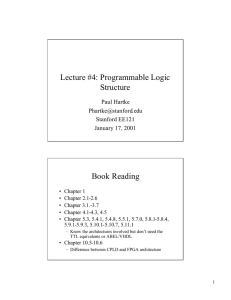 Lecture #4: Programmable Logic Structure Book Reading