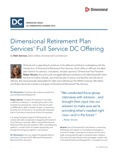 Dimensional Retirement Plan Services` Full Service DC Offering