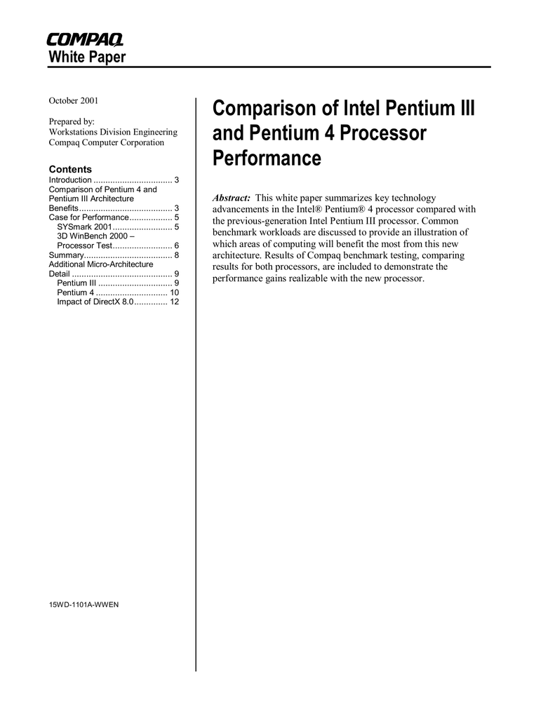 Comparison of Intel Pentium III and Pentium 4 Processor