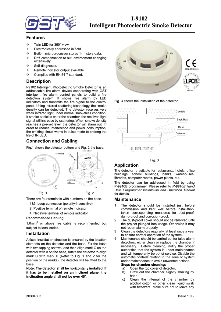 I 9102 Intelligent Photoelectric Smoke Detector