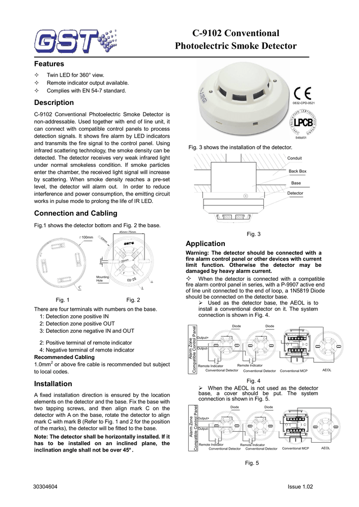 C 9102 Conventional Photoelectric Smoke Detector