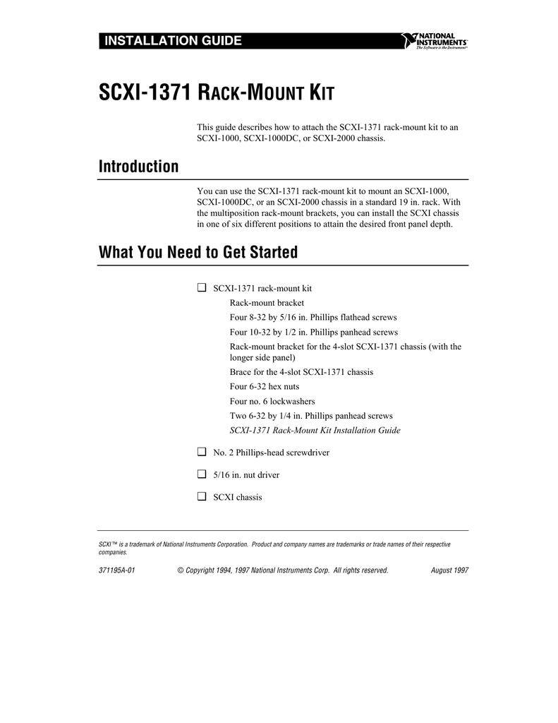 SCXI-1371 Rack-Mount Kit Installation Guide