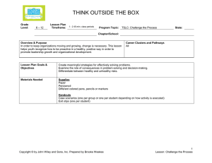 think outside the box - Student Leadership Challenge