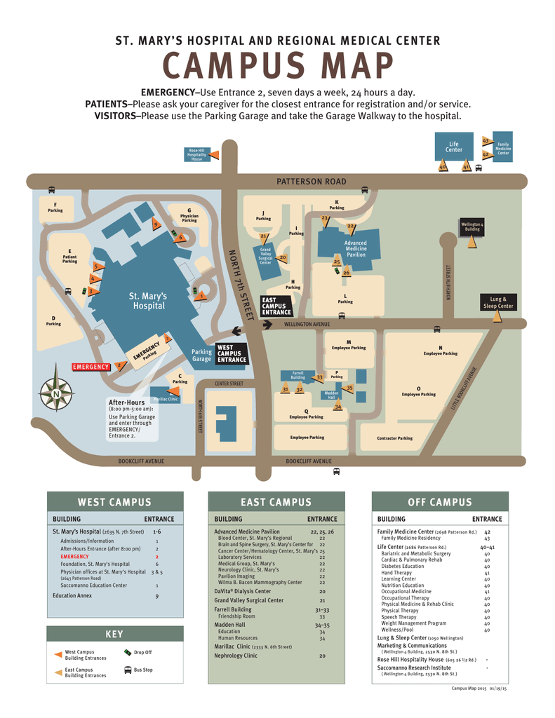 Campus Map 010915 St Mary S Medical Center