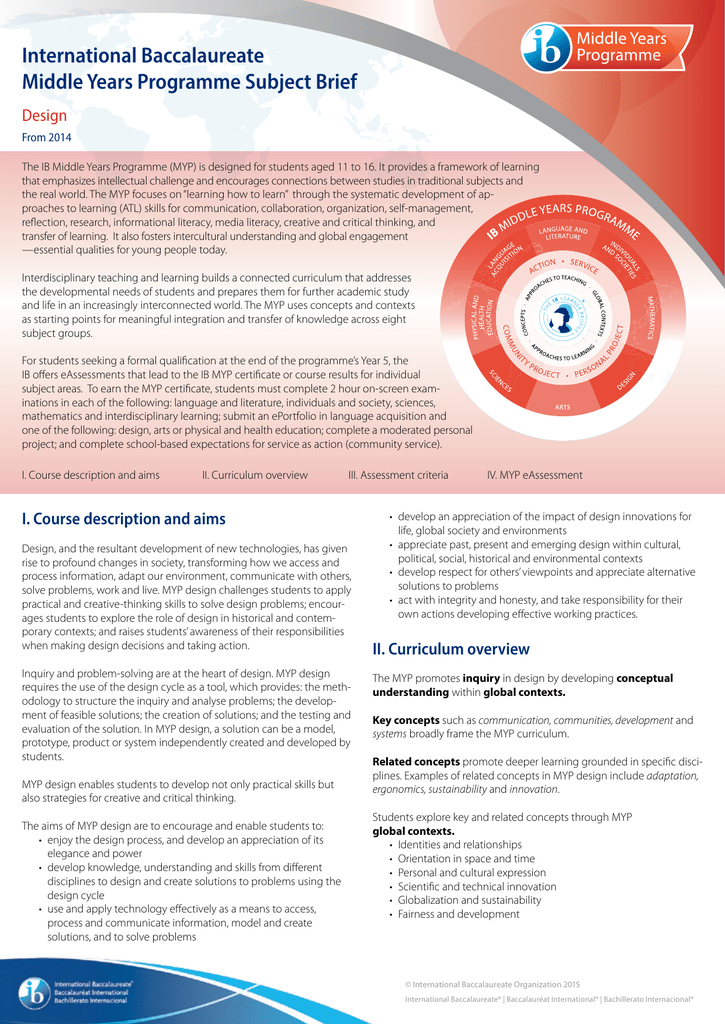 MYP design - International Baccalaureate