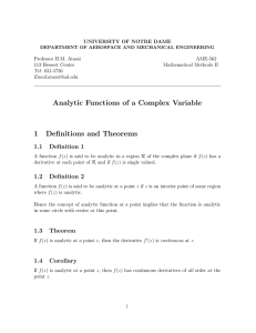 Analytic Functions - University of Notre Dame