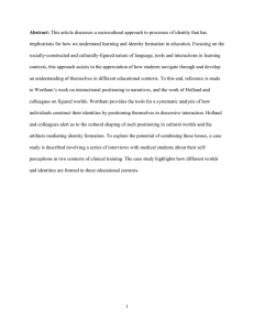 Abstract: This article discusses a sociocultural approach to
