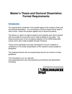 Master`s Thesis and Doctoral Dissertation Format Requirements