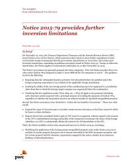 Notice 2015-79 provides further inversion limitations