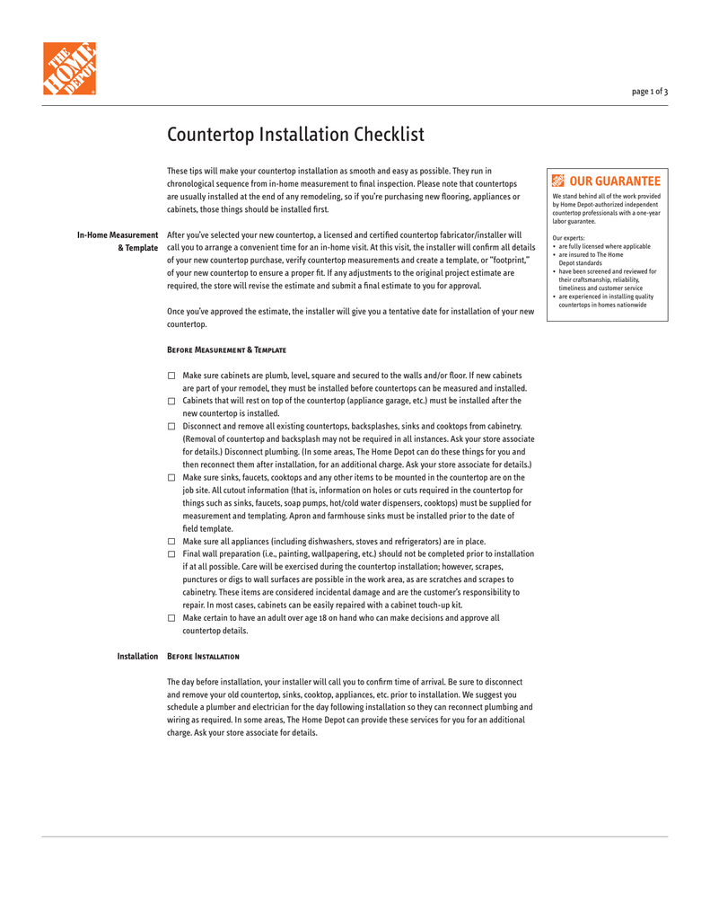 Page 1 Of 3 Countertop Installation Checklist These Tips Will Make Your As Smooth And Easy Possible They Run In Chronological