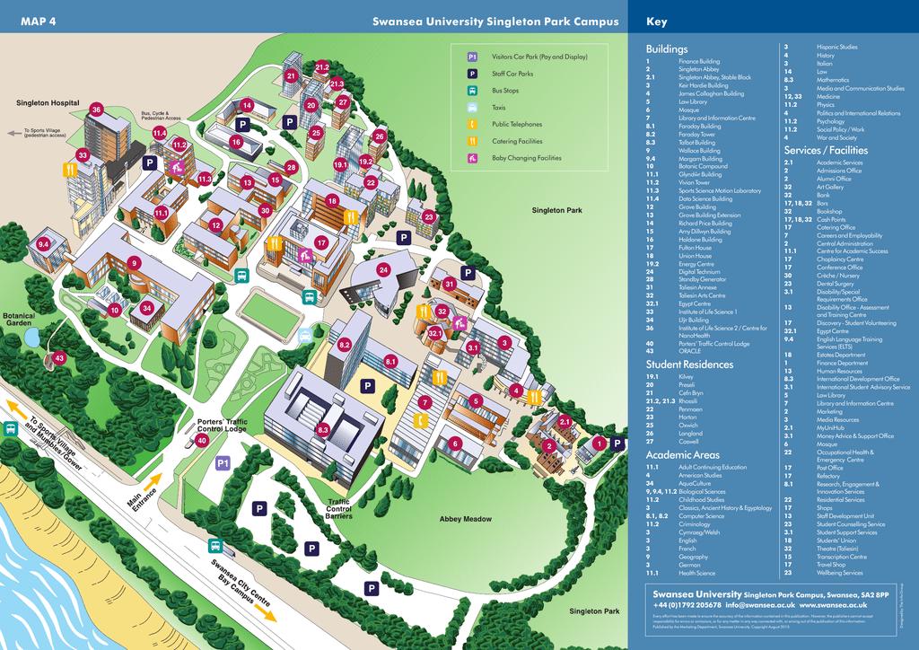 Swansea University Campus Map MAP 4 Swansea University Singleton Park Campus Key Buildings