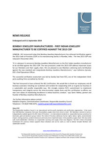 NEWS RELEASE - Responsible Jewellery Council