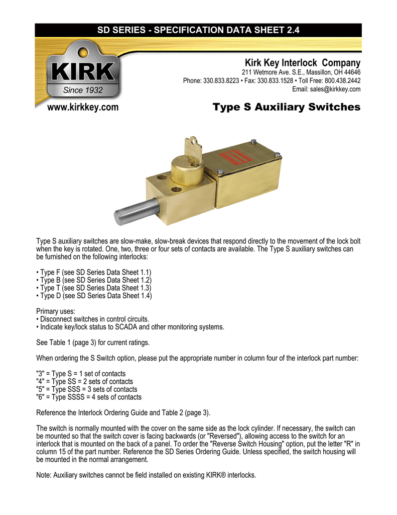 018363199_1 9b92396c0e262bc9c175a29b9717f7fc kirk key interlock company www kirkkey com type s auxiliary kirk key interlock wiring diagram at soozxer.org