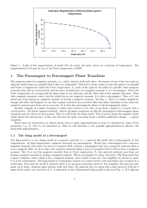1 The Paramagnet to Ferromagnet Phase Transition