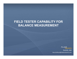 Field Tester Capability for Balance Measurement