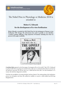 The Nobel Prize in Physiology or Medicine 2010 is awarded to