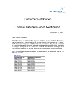 Customer Notification Product Discontinuance Notification