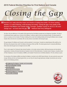 Closing the Gap: 2015 Federal Election Priorities for First Nations