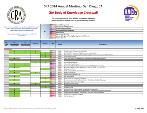 SRA 2014 Annual Meeting - San Diego, CA CRA Body of