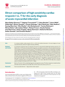 Direct comparison of high-sensitivity-cardiac troponin I vs. T for the