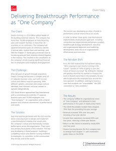 "Delivering Breakthrough Performance as ""One Company"""