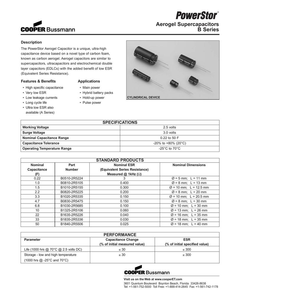 B Series Aerogel Supercapacitors - Digi