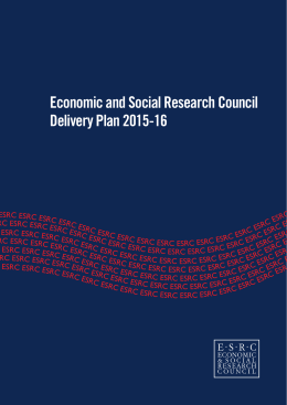 Economic and Social Research Council Delivery Plan 2015