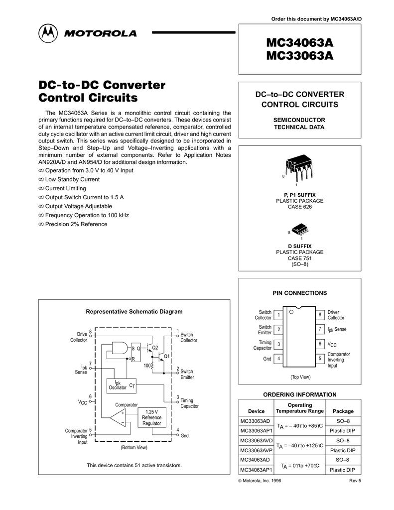 Mc34063a Mc33063a Dc To Converter Control Circuits The Stepup