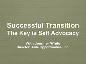 Successful Transition The Key is Self Advocacy