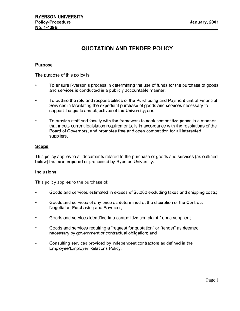 quotation and tender policy