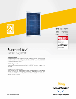 SW 80 Poly RNA Off-Grid Solar Panel Data Sheet