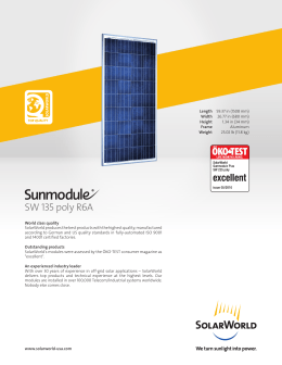 SW 135 Poly R6A Off-Grid Solar Panel Data Sheet