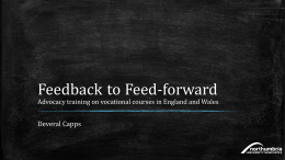 Feedback to feed forward. Advocacy Training on vocational courses