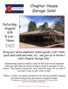 Chapter House Garage Sale! - Colorado PEO Chapter House