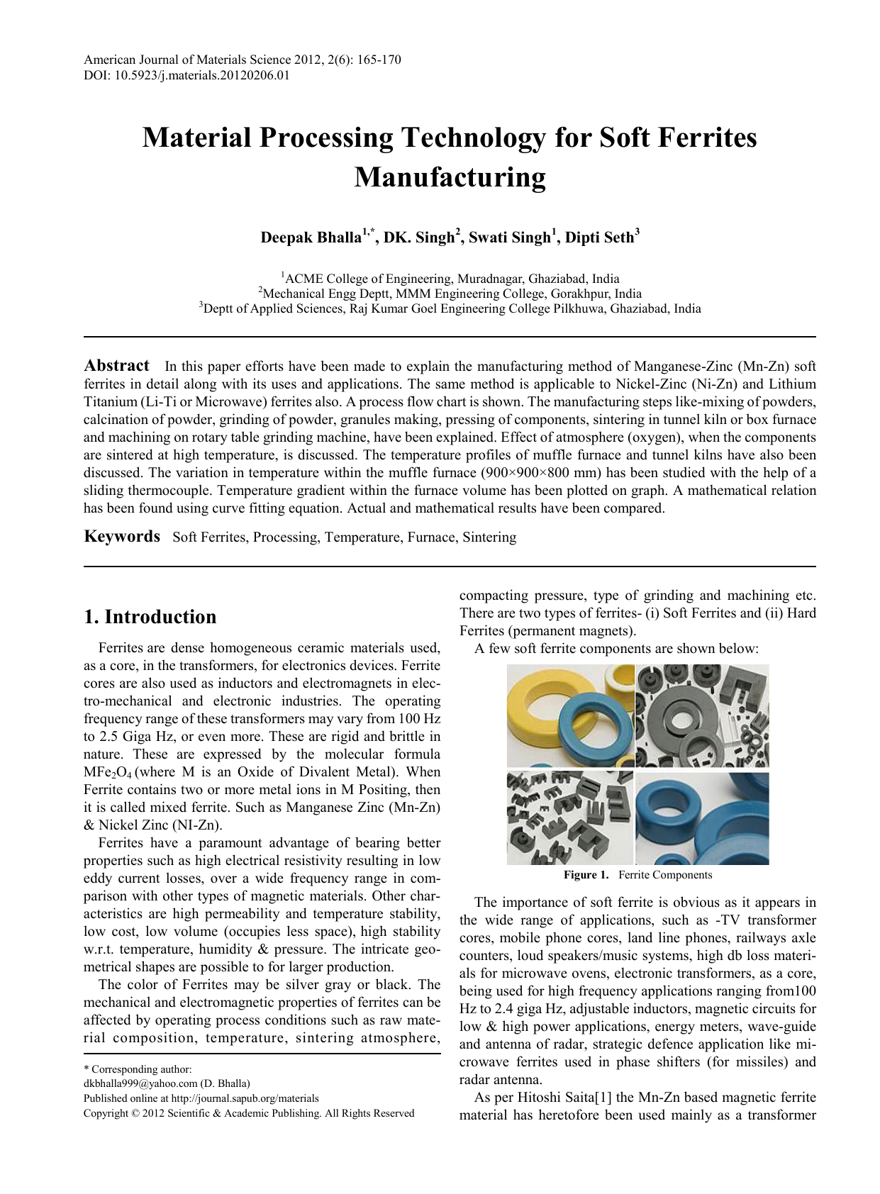Material Processing Technology for Soft Ferrites Manufacturing