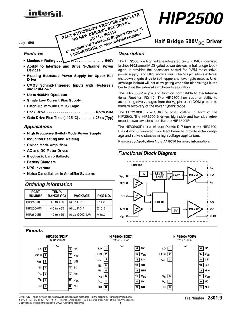 HIP2500 Datasheet